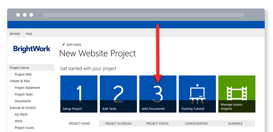 Free SharePoint Project Management Template add documents