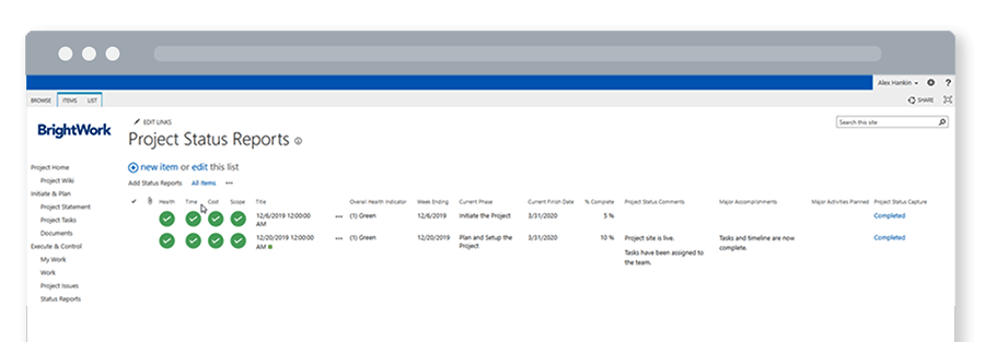 Free SharePoint Project Management Template All Project Status Reports