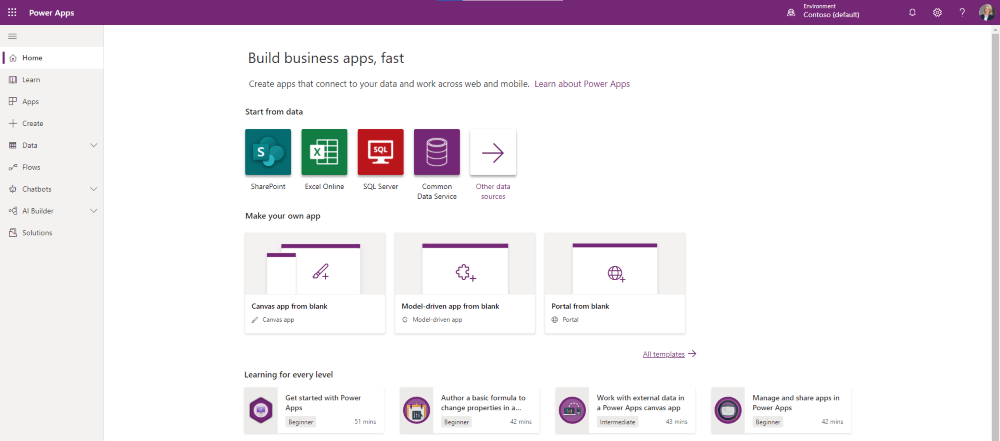 Microsoft Power Apps Home