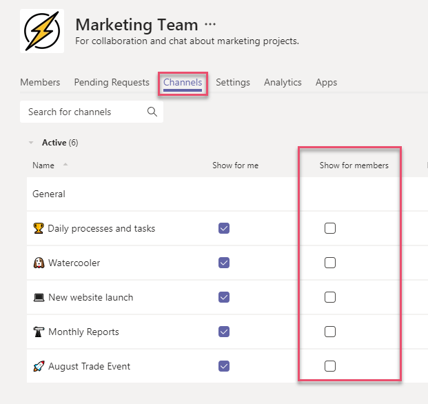 Microsoft Teams Channel Settings