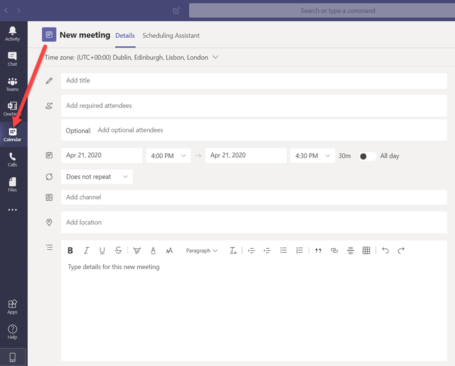 Microsoft Teams Meeting Set Up