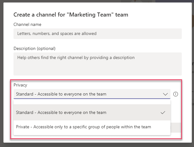 Microsoft Teams Private Public Channels
