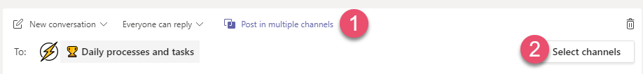 Microsoft Teams post in multiple channels