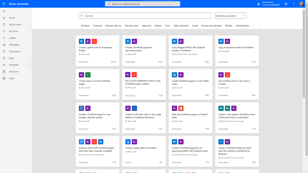 OneNote Power Automate Templates