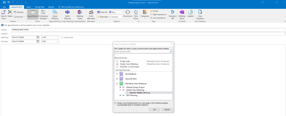 OneNote Send Meeting to Outlook