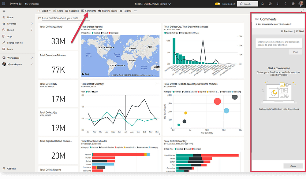 Power BI Service Dashboard Comments