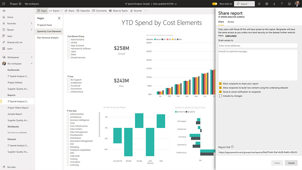 Power BI Service Sharing a Report
